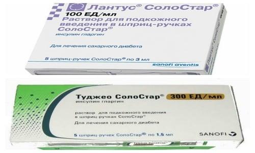 В препаратах Туджео СолоСтар и Лантус, используется одно и то же действующее вещество
