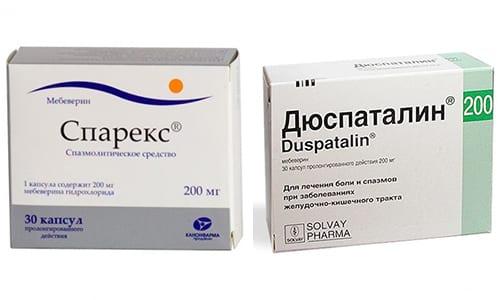 Дюспаталин и Спарекс производят спазмолитический эффект в ЖКТ