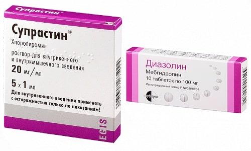 В лечении аллергических состояний применяют антигистаминные препараты Супрастин или Диазолин