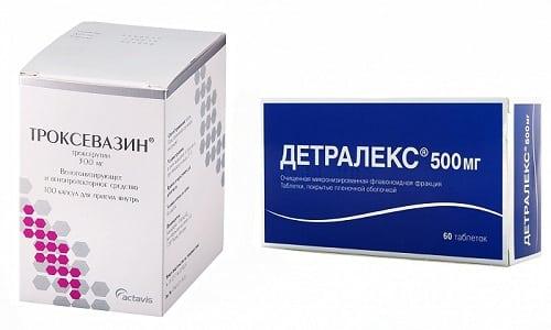 Заболевания, связанные с кровообращением нижних конечностей, устраняются препаратами Троксевазин или Детралекс